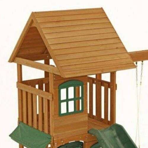 Big Backyard Wooden Cedar Swing Playground Slide Playset