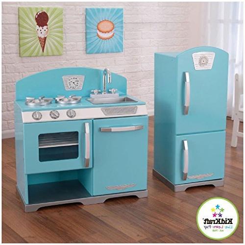 blue retro play kitchen