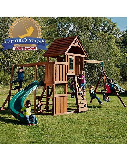 Swing-N-Slide PB 8272 Brook Set Two Slide, Bars, Glider, Green