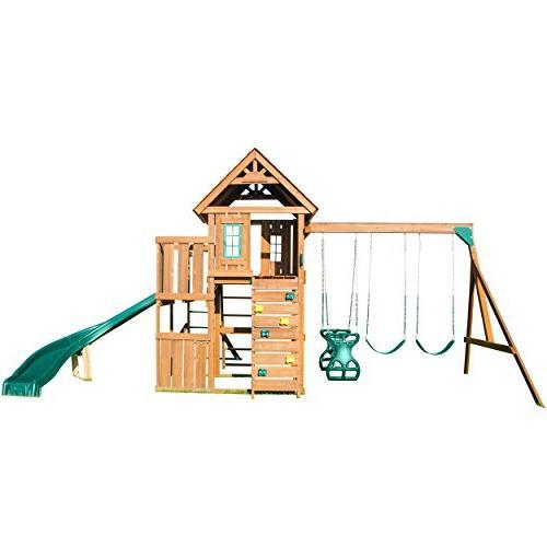 Swing-N-Slide PB 8272 Cedar Brook Set Two Swings, Slide, Monkey Bars, Glider,