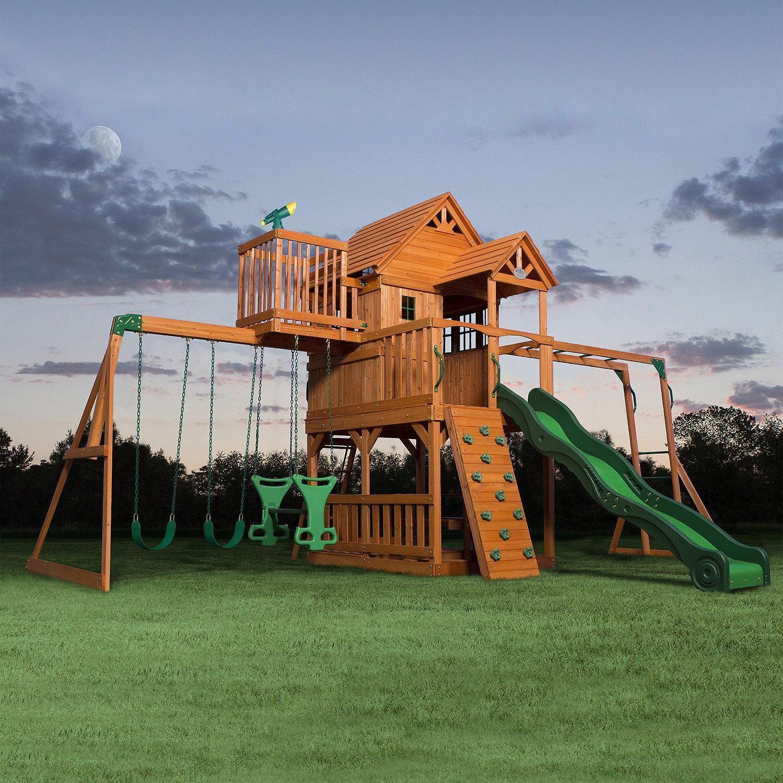 cedar swing set play set playground large