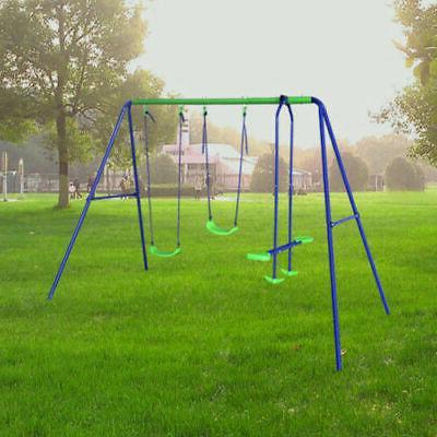 children kids double swing seesaw set outdoor