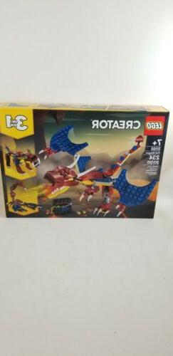Lego Creator 3 ain1 31102 Ninja Fire Dragon Adventures Build