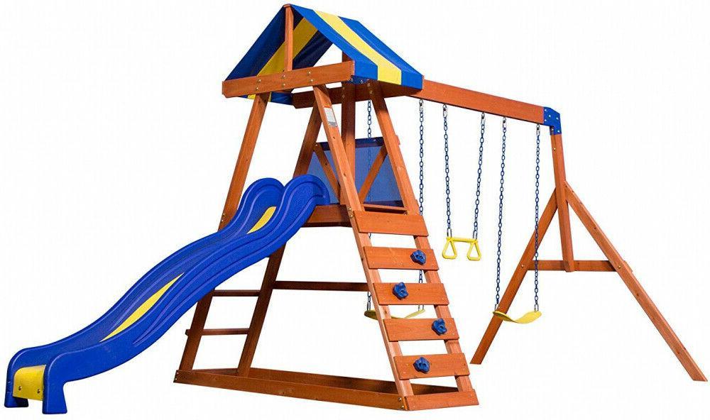 Backyard Discovery Dayton All Cedar Wood Playset Swing