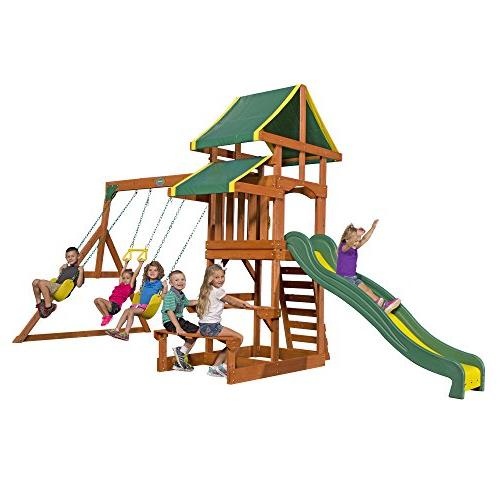 Backyard Discovery Tucson All Cedar Wood Playset Swing