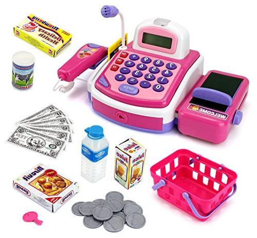 Educational Kids B/O Electronic Cash Register Pink Toy Prete