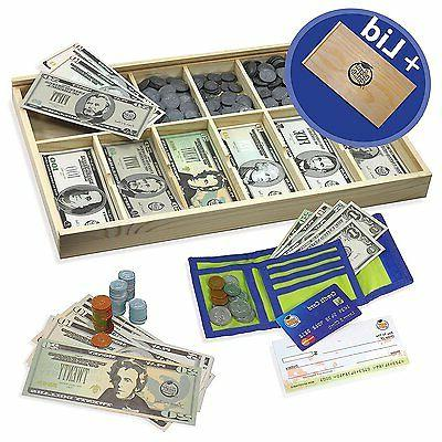 Educational Play Money Set for Kids - Bills, Coins, Wallet,