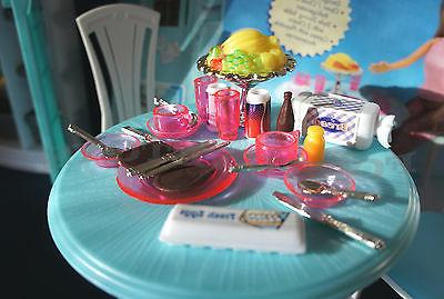 FANCY LIFE FURNITURE DINING w/Refrigerator FOR BARBIE