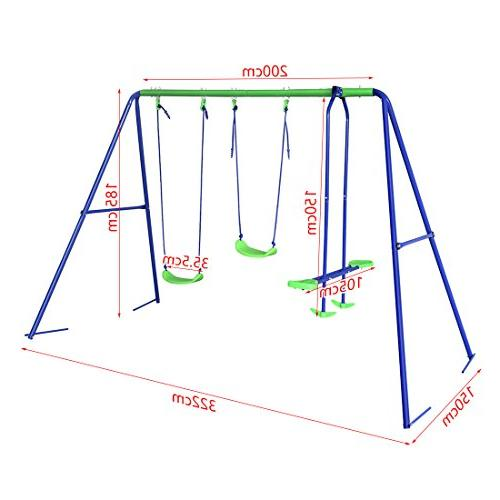HLC Outdoor Childrens Swing Set with 2 Baby Seesaw, Best Birthday Gift