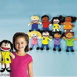 Fun Express - Plush Happy Kids Hand Puppets Multi-Ethnic Col