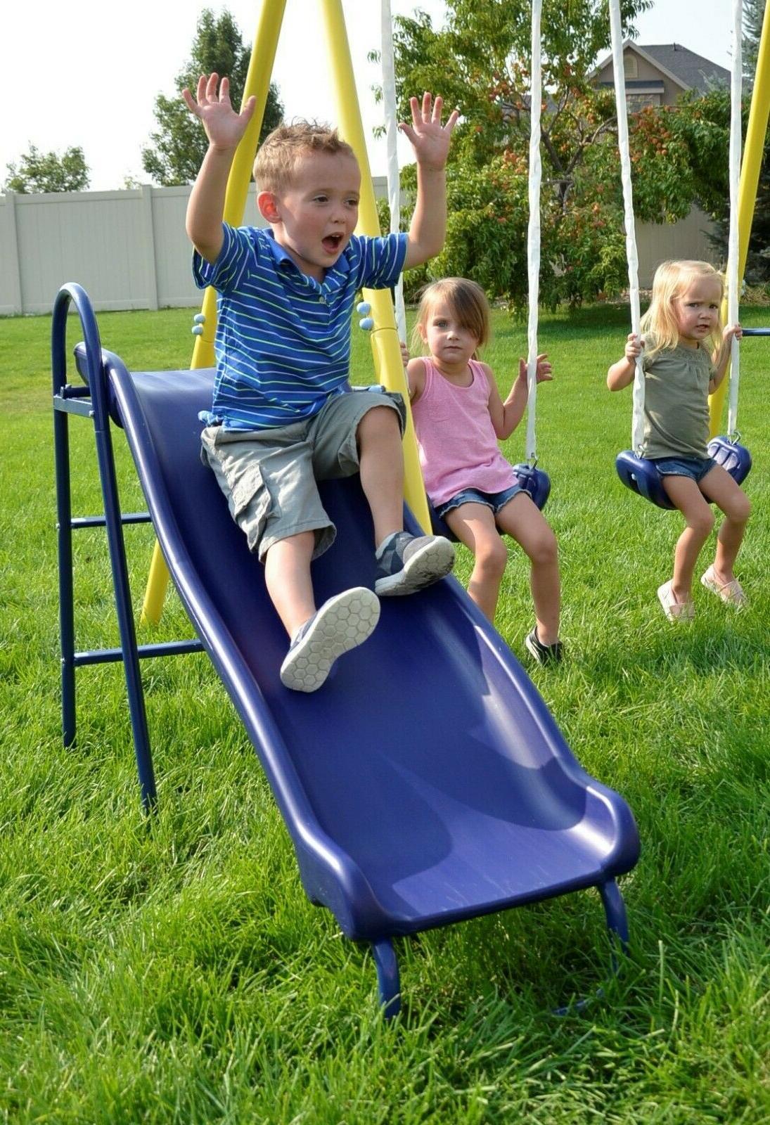 Fun Metal Swing Set Kids Playground Slide Outdoor