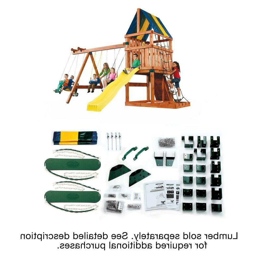 Outdoor Kit Backyard Swing Slide Playhouse