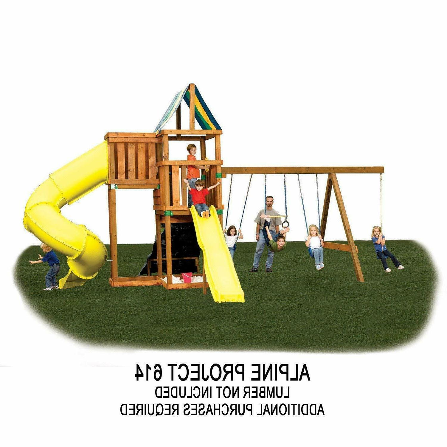 Outdoor Backyard Kids Play Swing Playhouse