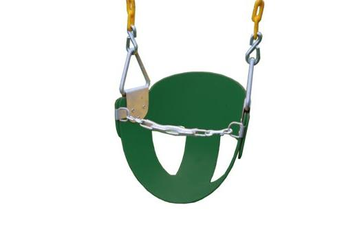 Eastern Jungle Gym Heavy-Duty High Back Half Toddler Swing Seat Coated Chains Safety Strap