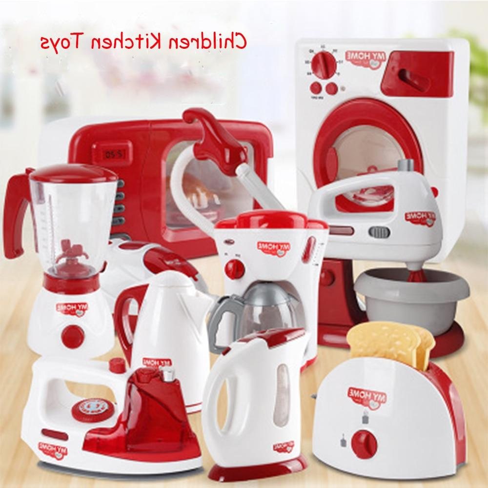 Household Pretend Play Kitchen Children <font><b>Toys</b></font> Machine Toaster Blender Cleaner <font><b>Cooker</b></font> Kid
