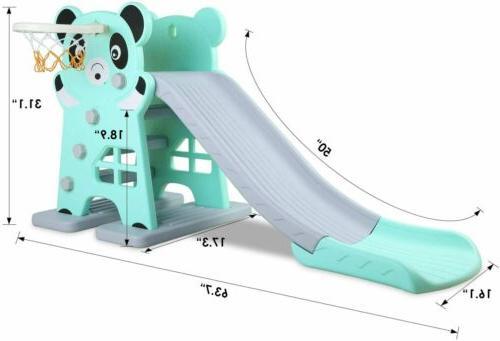 Large Slide Toddler+Basketball Hoop Playset