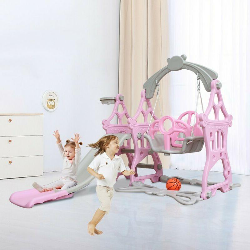 Indoor Outdoor Slide Set Playset Playground Swing Toddler