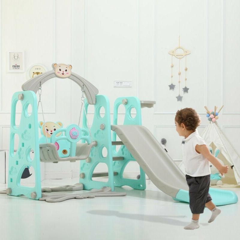 Swing Slide Play Set Basketball Hoop