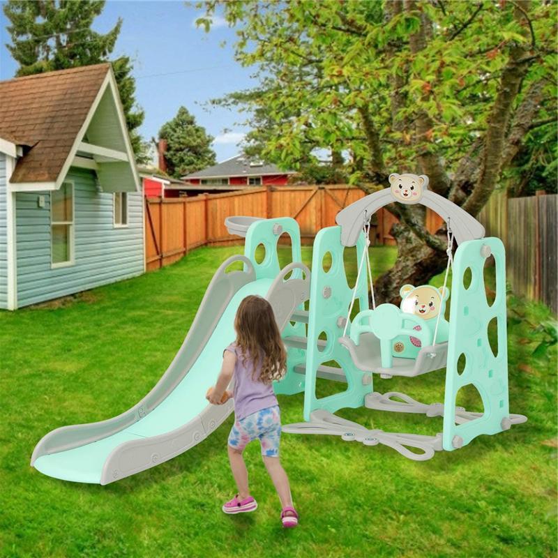 Toddler Freestanding 3-in-1 Play & Swing Set Child Slide Cli