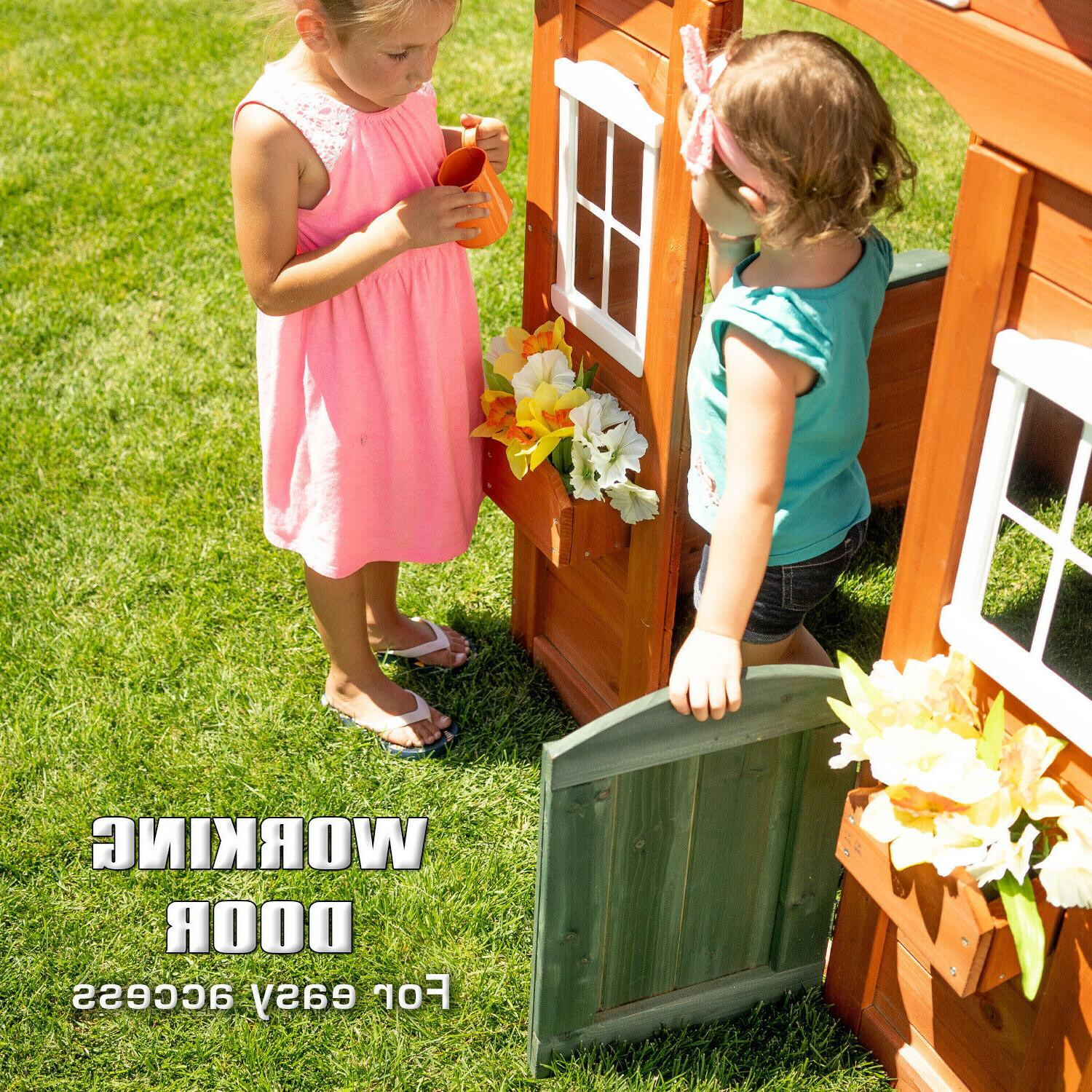 Kids Wooden Playhouse Cottage