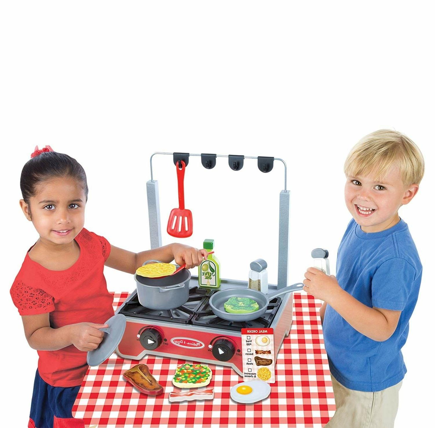 Kids Kitchen Wooden Stove Cook Food 17 Pc Pretend Gift
