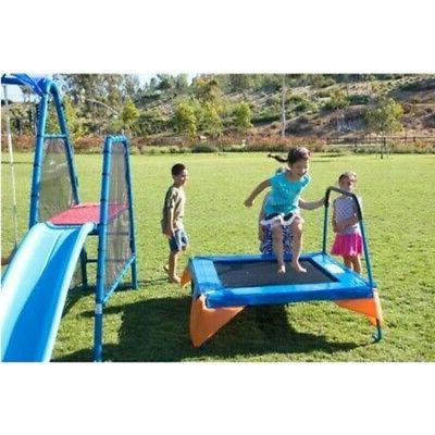 kids outdoor playground includes trampoline swings slide