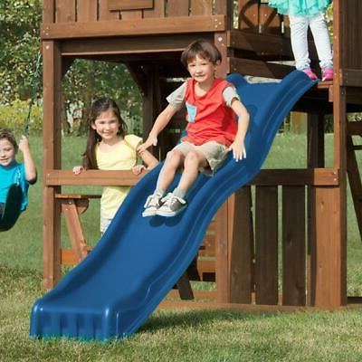 kids outdoor slide blue wave backyard play