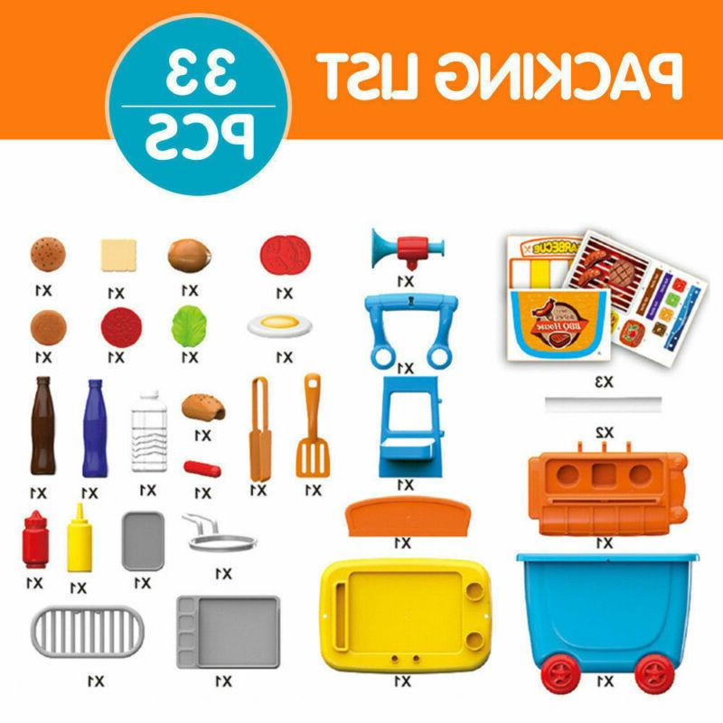 Kids Pretend Cooking Play Set BBQ Grill For Children Gifts33pc