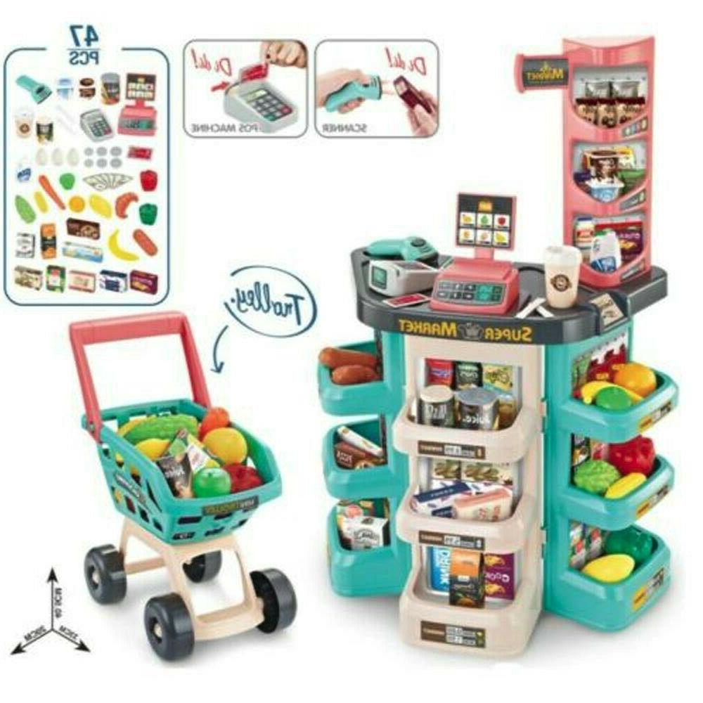 kids supermarket store food pretend play set
