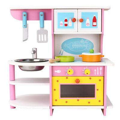 kids wood kitchen toy cooking pretend play