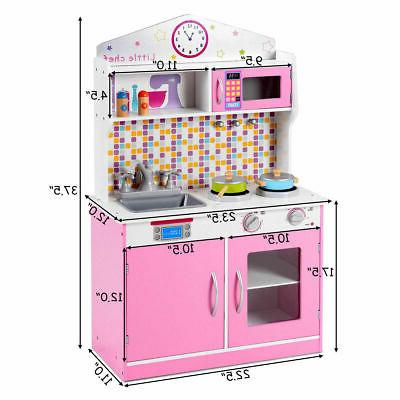 Kids Wooden Pretend Cooking Playset Kitchen Toys Play Toddler
