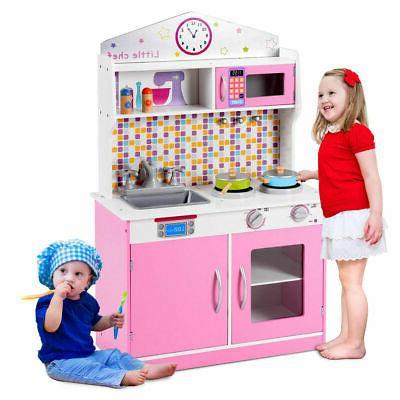 kids wooden pretend cooking playset kitchen toys