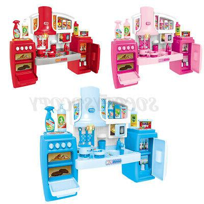 Kitchen Kids Play Cookware Pretend Play Toy Cooking Games Light Effect