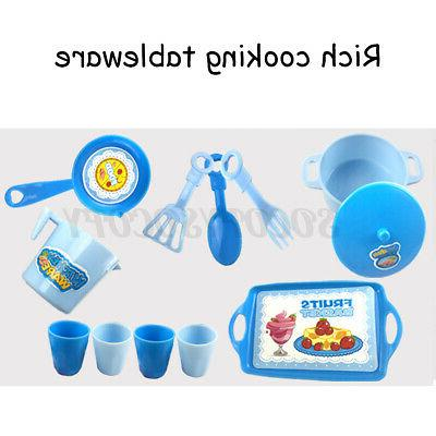 Kitchen Kids Cookware Pretend Play Toy Cooking Games Sound Effect