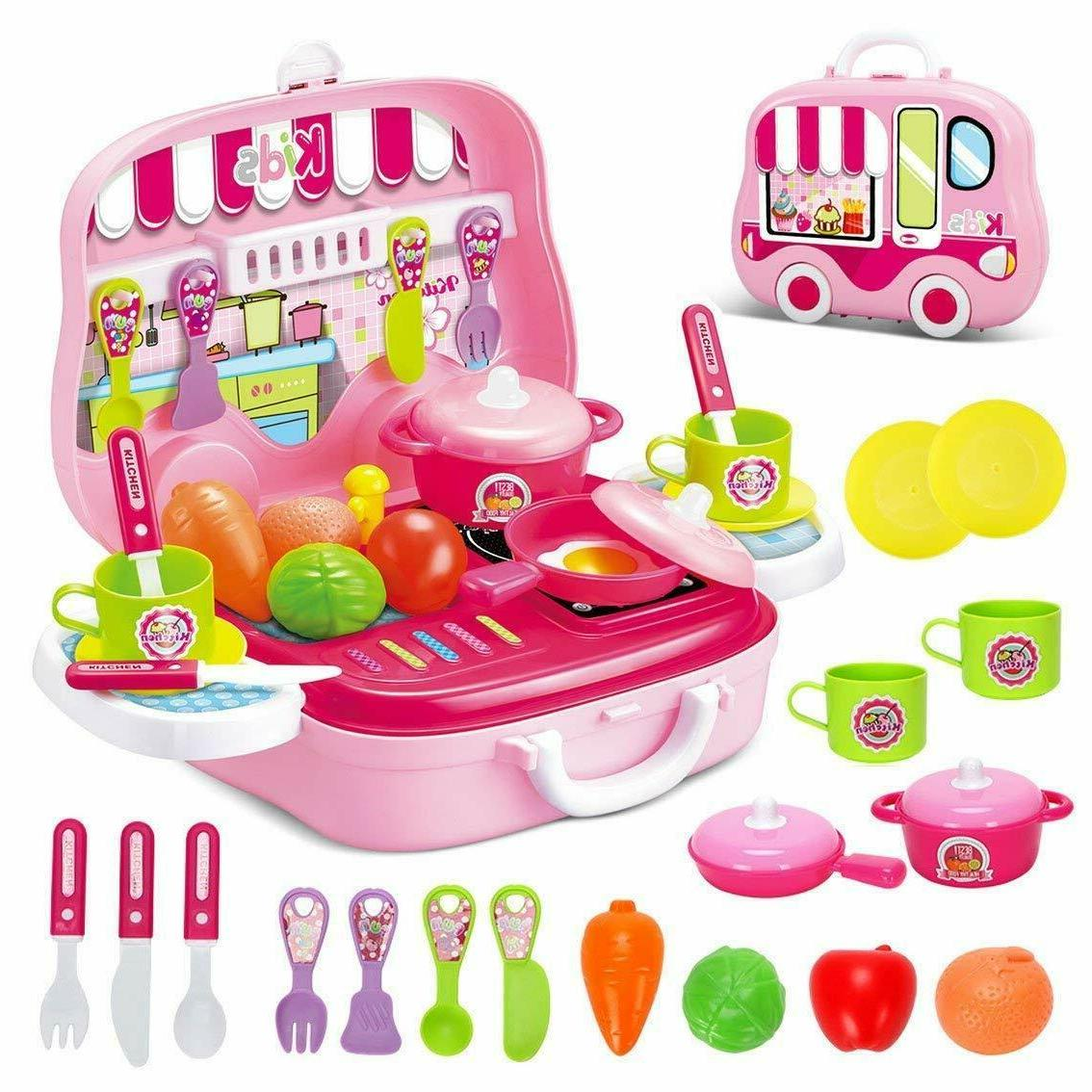 Kitchen Play Girls Cooking Playset for Play