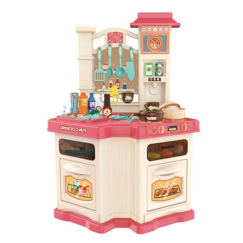 Large Pretend Kitchen Play Set Toys Role Playset with Runnin