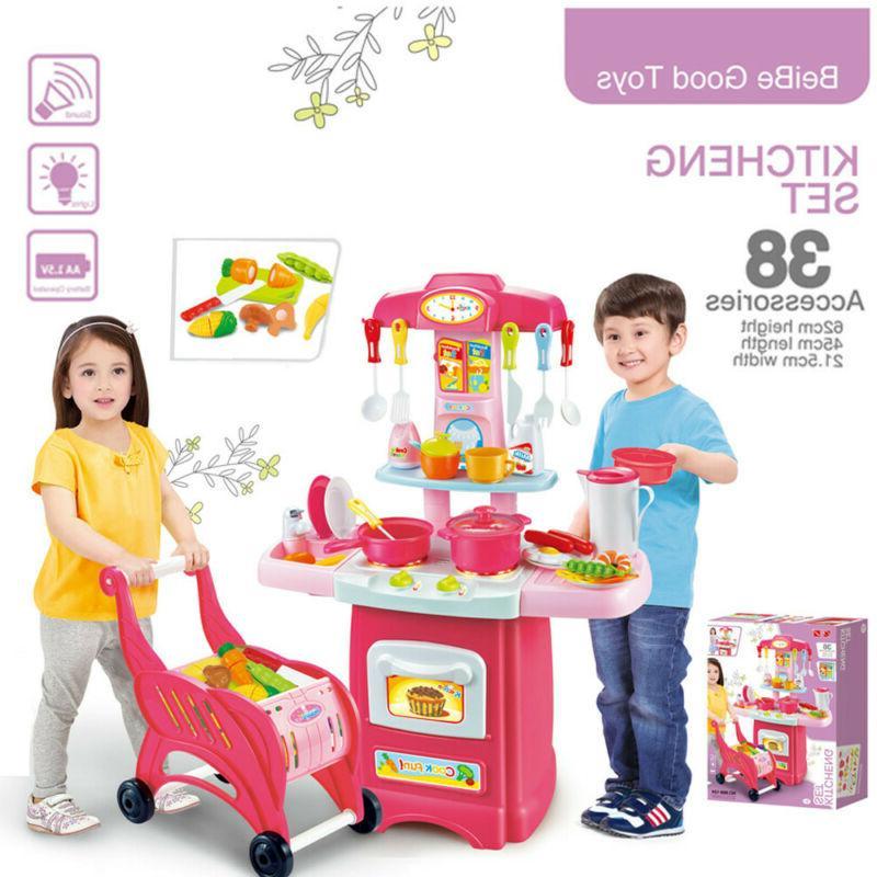 Kitchen Playset For Girls Boys Set Play Food Toddler Pretend