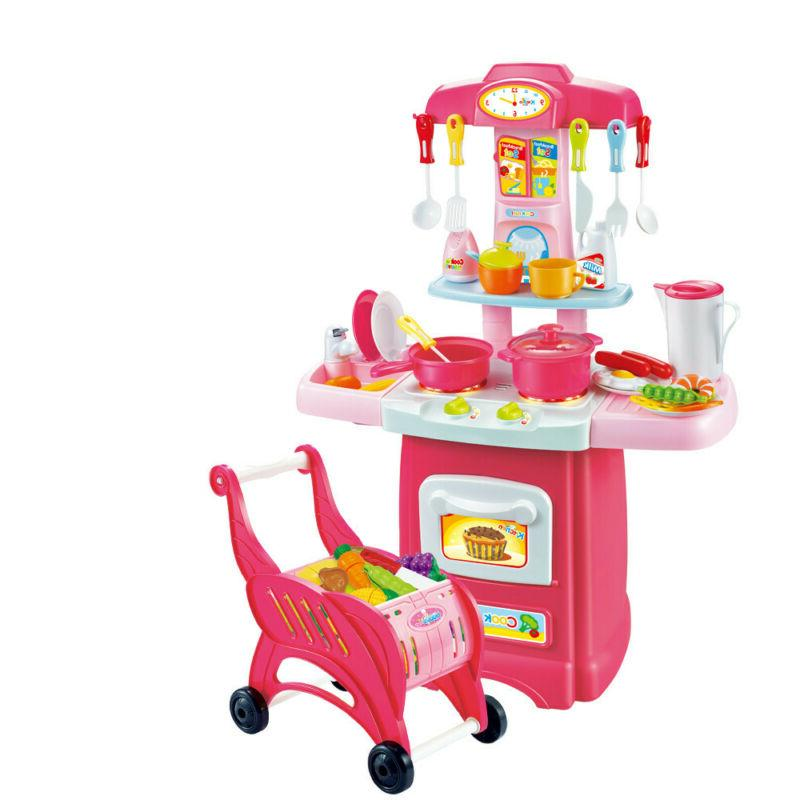 Kitchen Playset Pretend Play Toy Cooking Set Light &