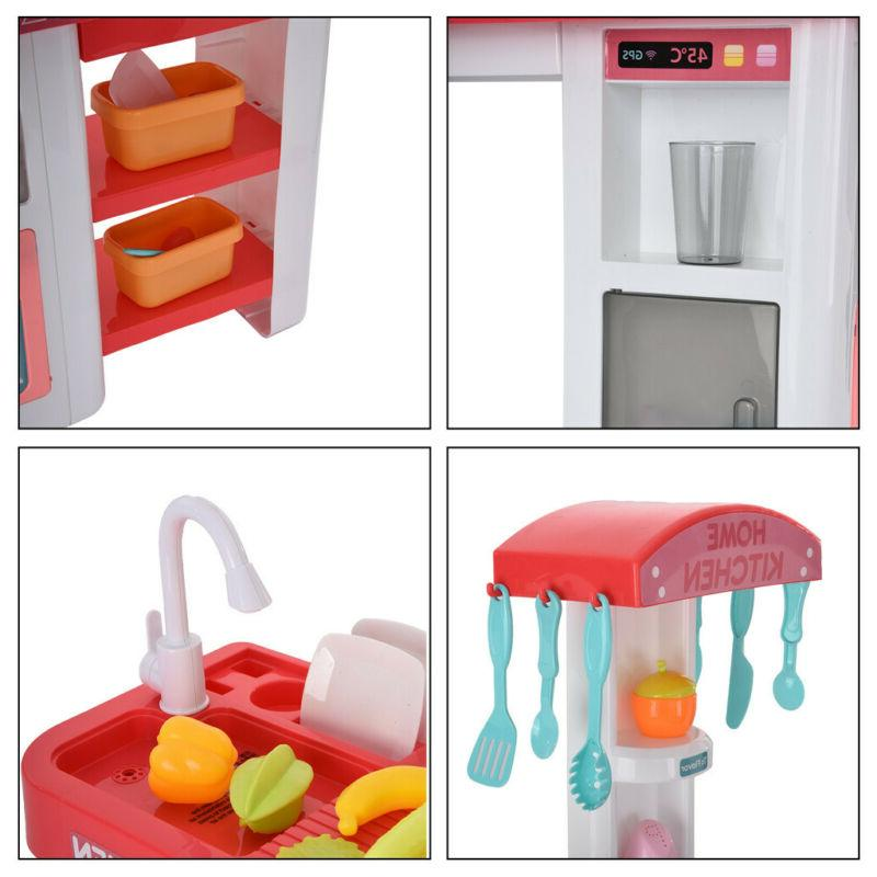 For Kids Pretend Play Toy Kitchen Play Water Sounds Kitchenware