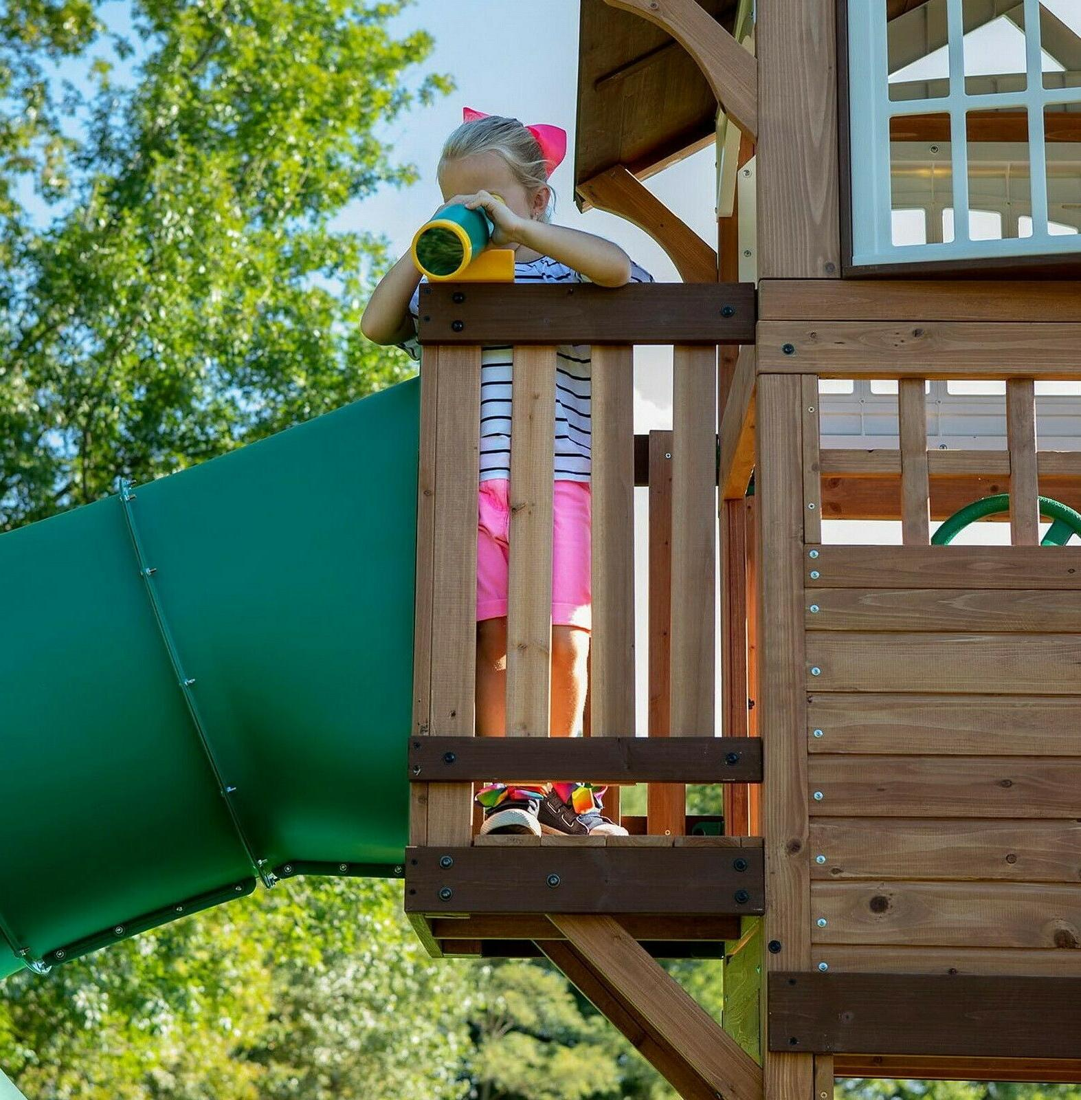 Large Wood Playground Swing Set Play 2 Slides Clubhouse