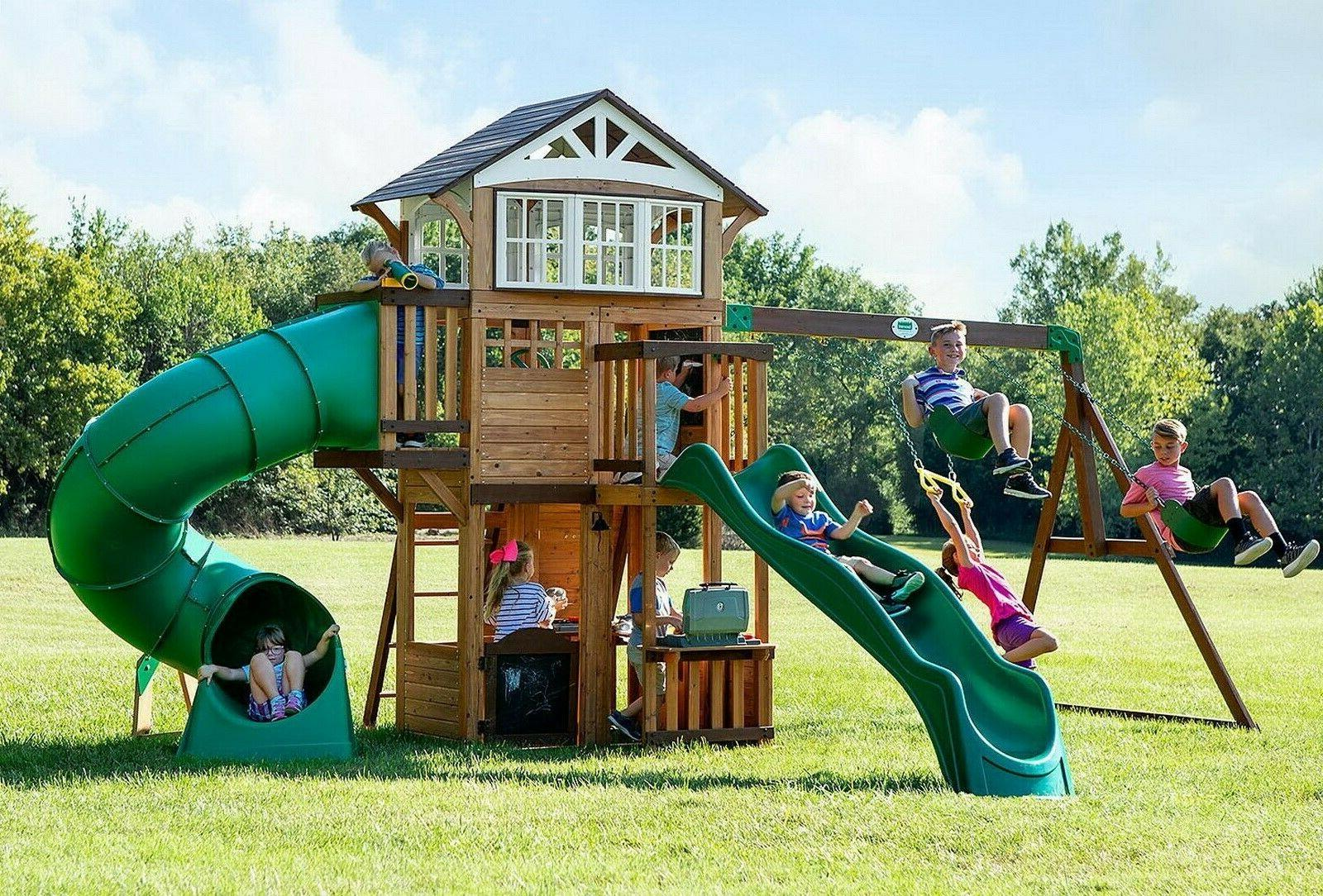 large cedar wood playground swing set play