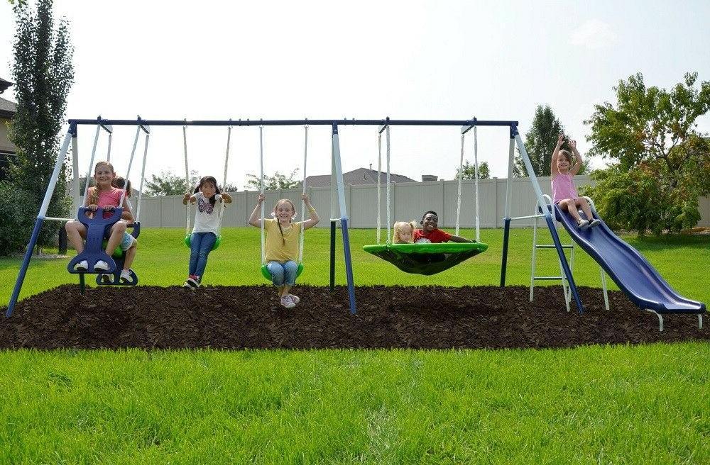 metal swing set playground slide