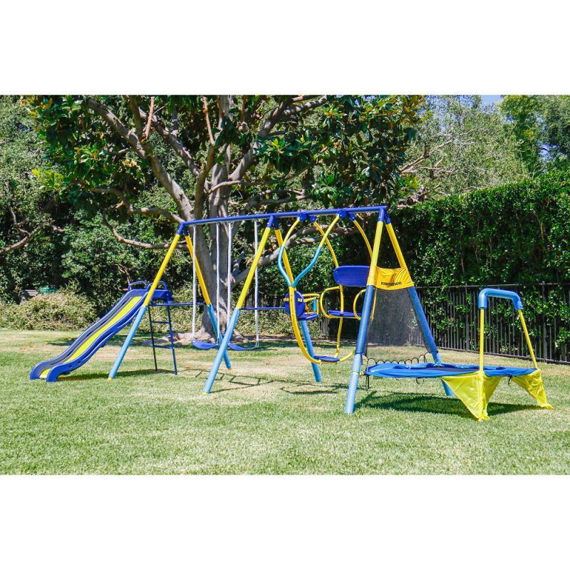 Metal Swing Set Toddler Kids Back Yard Outdoor Play Ground 3