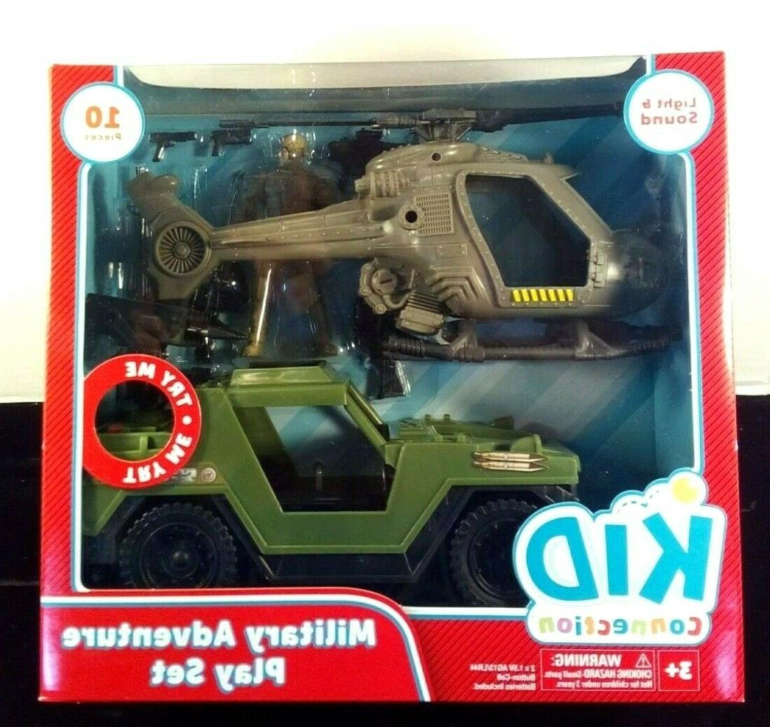 military adventure play set jeep and helicopter