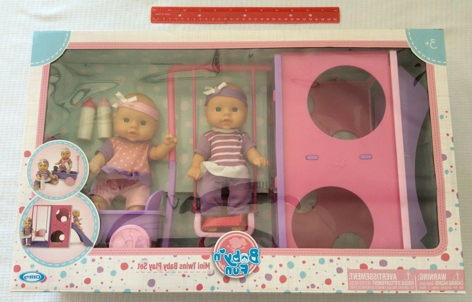 mini twin babies fun time park playset