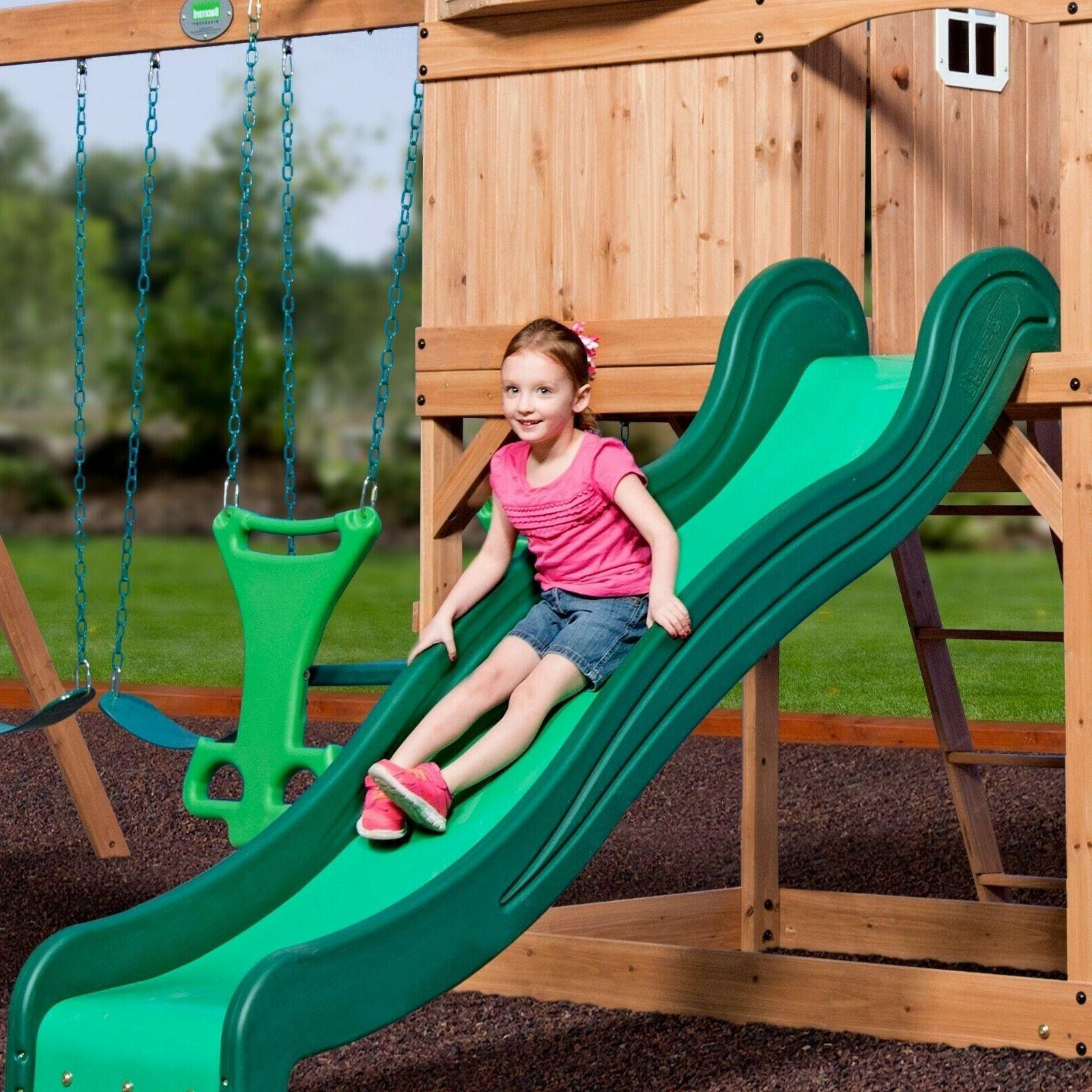 Playground Kids Set Swingset Wooden Montpelier Backyard