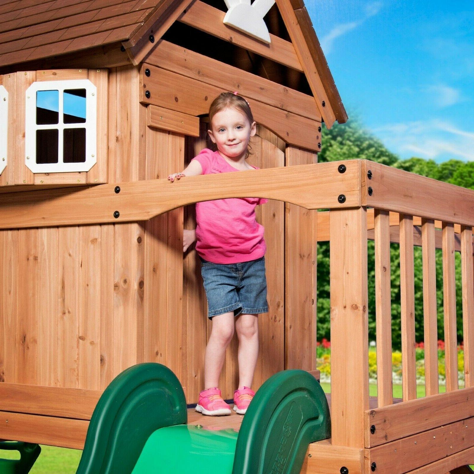 NEW Playground Kids Swingset Wooden