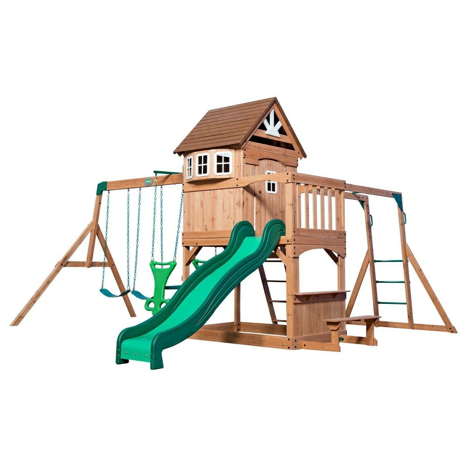 new cedar swing set playground kids play