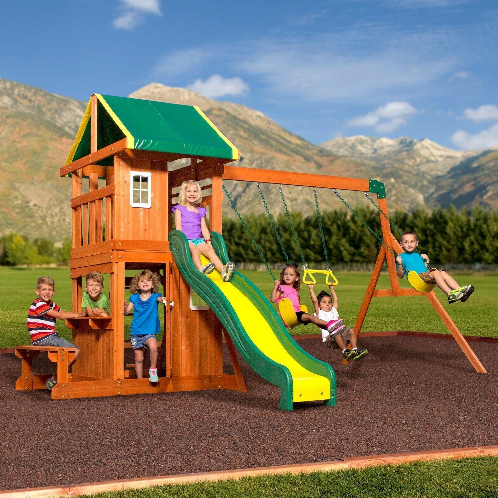Backyard Discovery Oakmont Cedar Wooden Swing Set With Slide