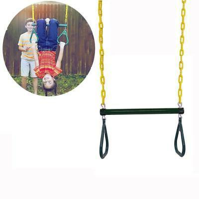"Outdoor Heavy Duty Gym Ring 18"" Trapeze Bar Combo Swing Acce"